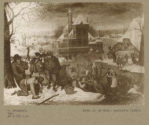 black and white image of a painting showing figures ice-skating, mounted on tan paper with typewritten caption