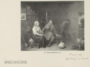 page from an auction catalogue showing a black and white image of a painted tavern scene with a man and woman in the foreground smoking and drinking, with handwritten annotations below