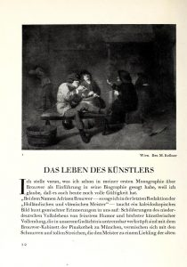 Page from an art historical publication showing a black and white image of a painted tavern scene with three men smoking in the foreground