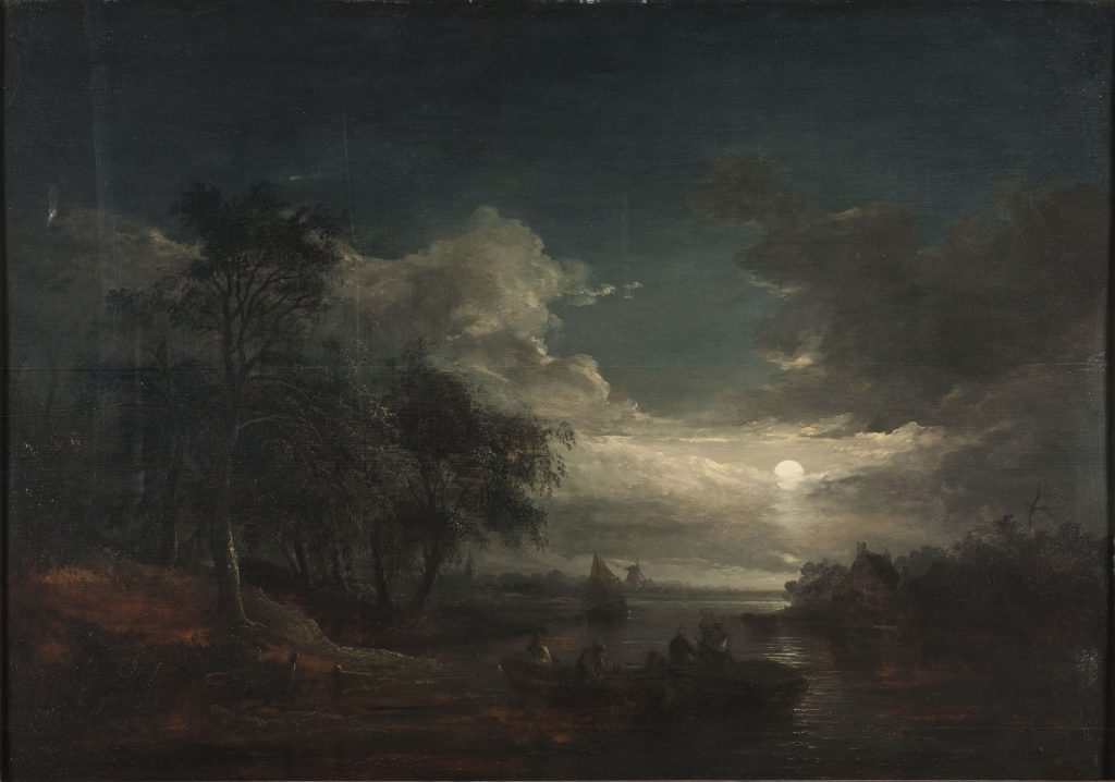 Eye-level view of river landscape by moonlight