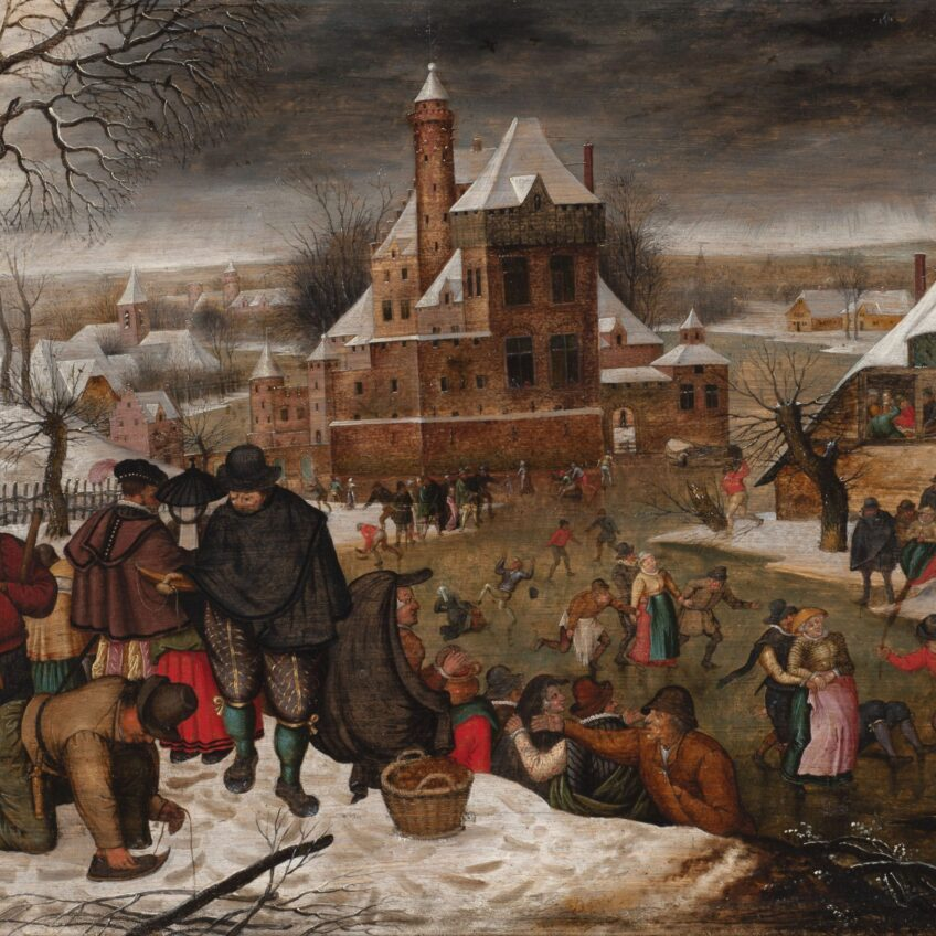 View from a river bank onto a scene of ice skaters