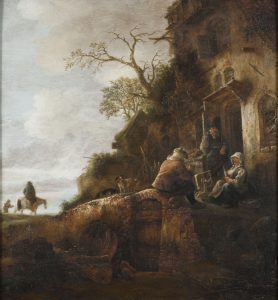 View from below of peasants conversing in front of a home in the countryside