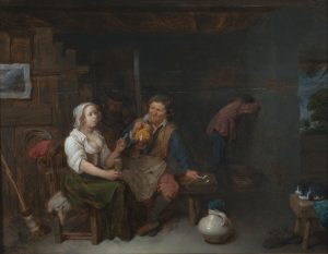 Scene of eye level view of man and woman conversing in a tavern with a figure vomiting in the background