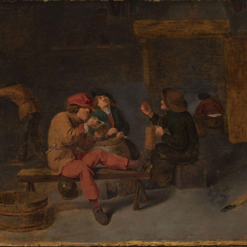 Scene at eye level view of male peasants in a tavern, three seated in the foreground