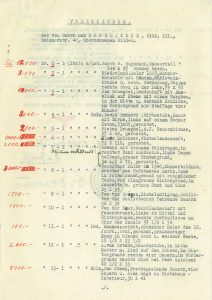 Typewritten inventory sheet with handwritten annotations in red along left margin indicating prices