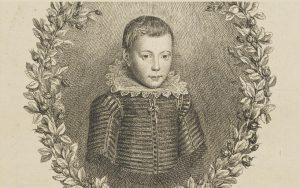 Front view, bust-length printed portrait of boy looking straight at us
