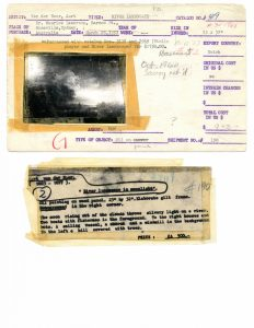 Front and back views of inventory card, with small reproduction of painting taped to the front