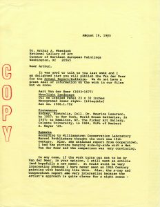 "Typewritten letter stamped ""copy"""